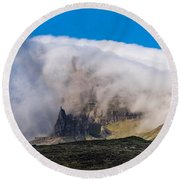 Round Beach Towel featuring the photograph Storr In Cloud by Gary Eason
