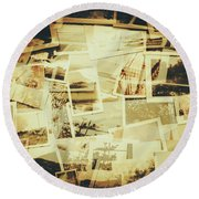 Storyboard Of Past Memories Round Beach Towel