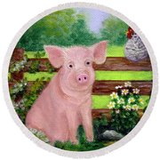 Round Beach Towel featuring the painting Storybook Pig by Sandra Estes