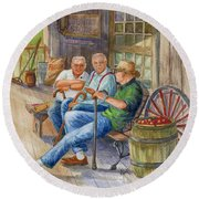 Round Beach Towel featuring the painting Storyteller Friends by Marilyn Smith