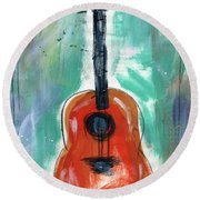 Storyteller's Guitar Round Beach Towel