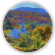 Round Beach Towel featuring the photograph Stowe Vermont Church In Fall by Jeff Folger