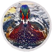 Straight Ahead Wood Duck Round Beach Towel by Jean Noren