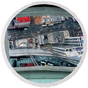 Straight Down Skyline 2 Round Beach Towel