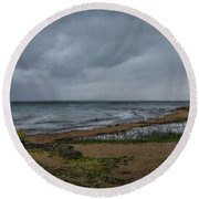 Straits Of Mackinac Round Beach Towel