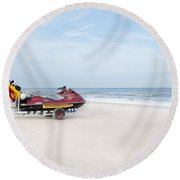 Round Beach Towel featuring the photograph Strandbewaking by Hannes Cmarits