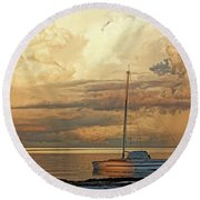 Round Beach Towel featuring the photograph Stranded by HH Photography of Florida