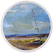 Round Beach Towel featuring the painting Stranded by Michael Helfen