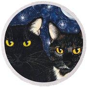 Strangeling's Felines - Black Cat Tortie Cat Round Beach Towel