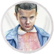 Stranger Things Eleven Portrait Round Beach Towel