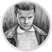 Stranger Things Fan Art Eleven Round Beach Towel by Olga Shvartsur