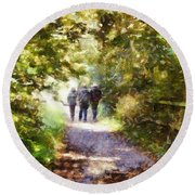 Strangers On A Footpath / In To The Light Round Beach Towel