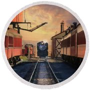 Round Beach Towel featuring the photograph Strasburg Railroad Station by Lori Deiter
