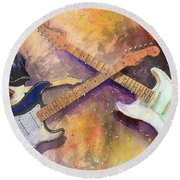 Round Beach Towel featuring the painting Strat Brothers by Andrew King