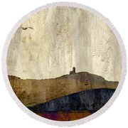 Strata With Lighthouse And Gull Round Beach Towel