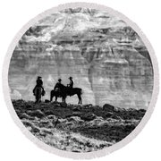 Strategy Meeting In Black And White Round Beach Towel