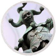 Stratford's Jester Statue Round Beach Towel by Terri Waters