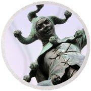 Stratford's Jester Statue Round Beach Towel
