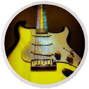 Stratocaster Lemon Burst Glow Neck Series Round Beach Towel