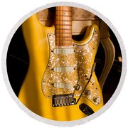 Stratocaster Plus In Graffiti Yellow Round Beach Towel