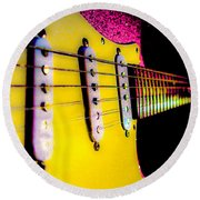Round Beach Towel featuring the photograph Stratocaster Pop Art Pink Fire Neck Series by Guitar Wacky