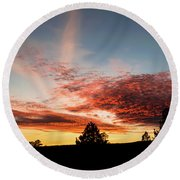 Stratocumulus Sunset Round Beach Towel by Jason Coward