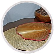 Round Beach Towel featuring the photograph Straw Fans by Judy Vincent
