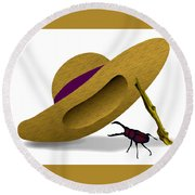 Straw Hat And Stag Beetle Round Beach Towel