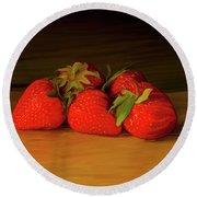 Strawberries 01 Round Beach Towel by Wally Hampton