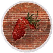 Strawberries And Cream Amazing Graffiti Round Beach Towel