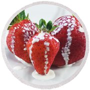 Strawberries And Cream Round Beach Towel