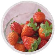 Strawberries Round Beach Towel by Rachel Mirror