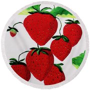 Round Beach Towel featuring the painting Strawberries by Rodney Campbell