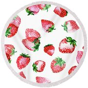 Strawberries Round Beach Towel by Varpu Kronholm