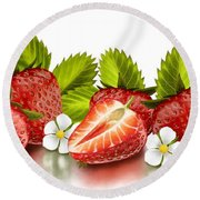 Strawberries Round Beach Towel by Veronica Minozzi