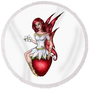 Strawberry Fairy Drawing Round Beach Towel