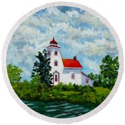 Strawberry Island Lighthouse, Manitoulin Island Round Beach Towel