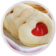 Round Beach Towel featuring the photograph Strawberry Jam Filled Heart Cookies by Teri Virbickis