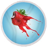 Round Beach Towel featuring the photograph Strawberry by Juli Scalzi
