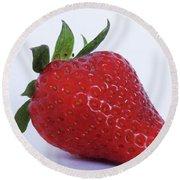 Strawberry Round Beach Towel by Julia Wilcox