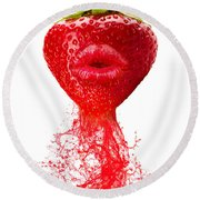 Strawberry Kiss Round Beach Towel by Prar Kulasekara
