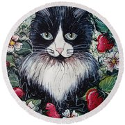 Strawberry Lover Cat Round Beach Towel by Natalie Holland