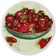 Strawberry Memories Round Beach Towel