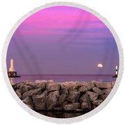 Strawberry Moon Round Beach Towel
