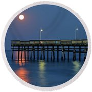 Strawberry Moon Over Sandbridge Round Beach Towel
