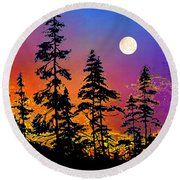 Round Beach Towel featuring the painting Strawberry Moon Sunset by Hanne Lore Koehler