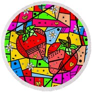 Strawberry Popart By Nico Bielow Round Beach Towel