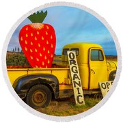 Strawberry Sign In Pickup Truck Round Beach Towel by Garry Gay