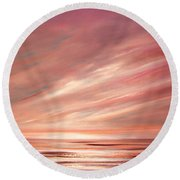 Strawberry Sky Sunset Round Beach Towel
