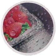 Strawberry Splash Round Beach Towel